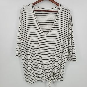 Dex Stripes Front Tie Short Sleeves